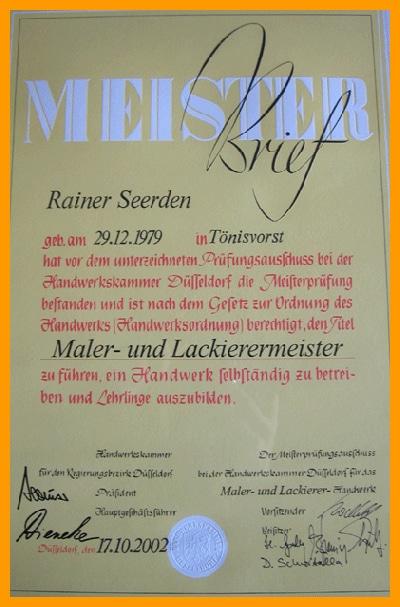 Meisterbrief Rainer Seerden